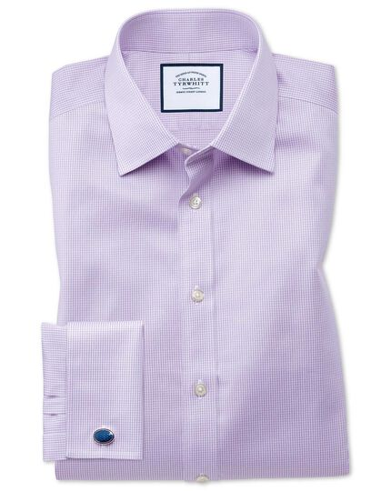 Classic fit non-iron puppytooth lilac shirt