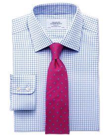Extra-Slim Fit Twill-Hemd in himmelblau mit Gitterkaros
