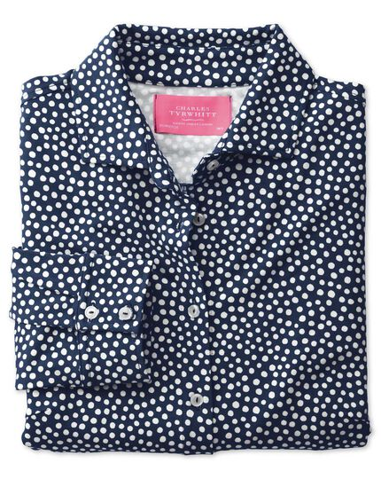 Navy and white spot print semi fitted stretch jersey shirt
