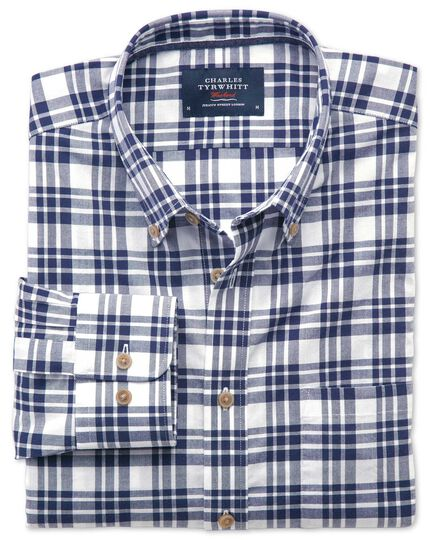Classic fit poplin navy check shirt