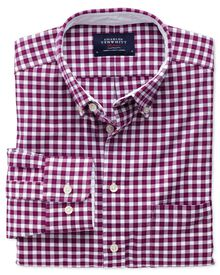 Classic fit berry check washed Oxford shirt