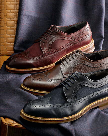Navy Tavistock wingtip brogue shoes