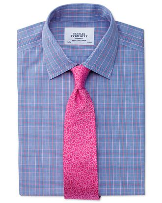 Slim fit non-iron Prince of Wales blue and pink shirt