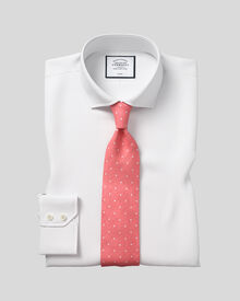 Slim fit cutaway collar non-iron poplin white shirt