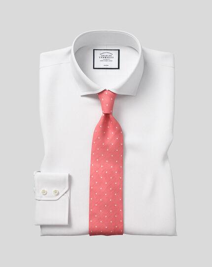 Slim fit spread collar non-iron poplin white shirt