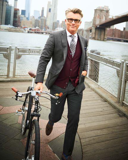 Grey slim fit sharkskin travel suit waistcoat