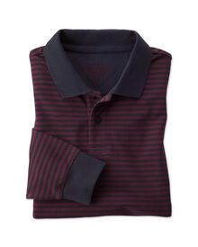 Classic fit navy and wine striped pique long sleeve polo shirt