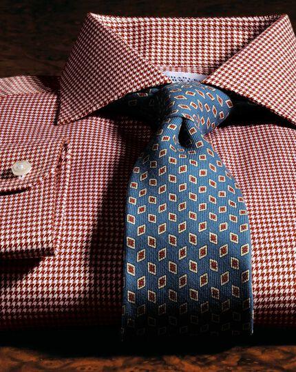 Mid blue silk print luxury tie
