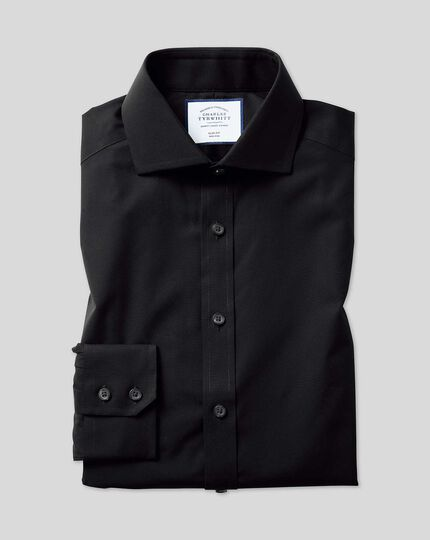 Extra slim fit spread collar non-iron black shirt