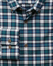 Slim fit multi check green shirt