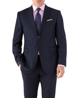 Navy classic fit peak lapel twill business suit jacket