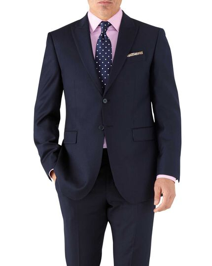 Navy classic fit peak lapel twill business suit jacket