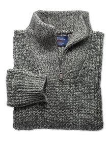 Grey fisherman's rib Shetland zip neck jumper