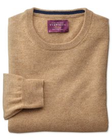 Tan cashmere crew neck sweater