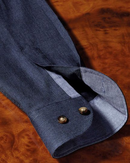 Slim fit button-down soft cotton plain blue shirt