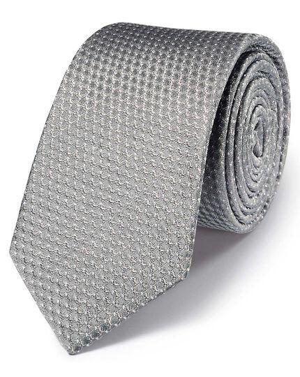 Silver silk classic textured spot slim tie