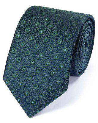 Forest green silk English luxury geometric tie
