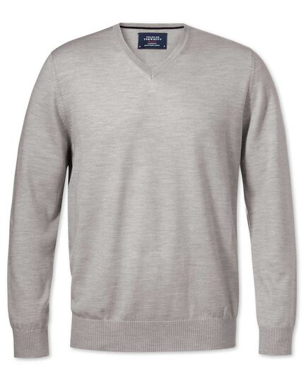 Silver merino wool v-neck sweater