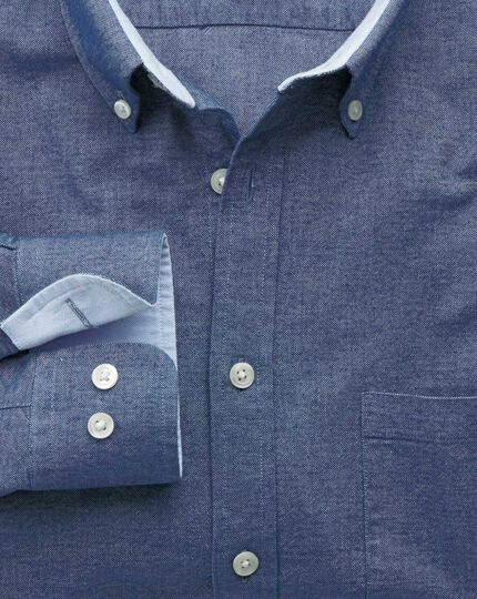 Slim fit blue washed Oxford shirt