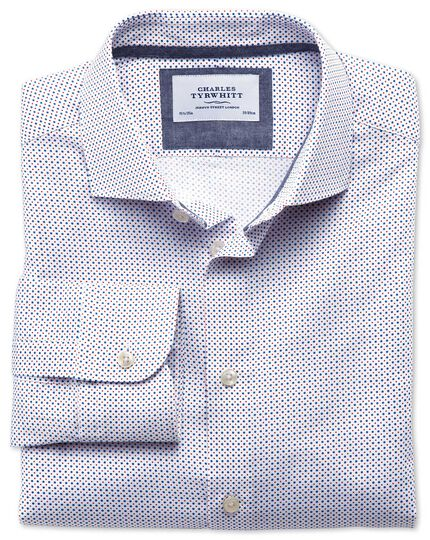 Classic fit semi-spread collar non-iron business casual blue and red spot print shirt