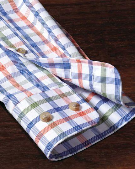 Classic fit non-iron poplin green and orange check shirt