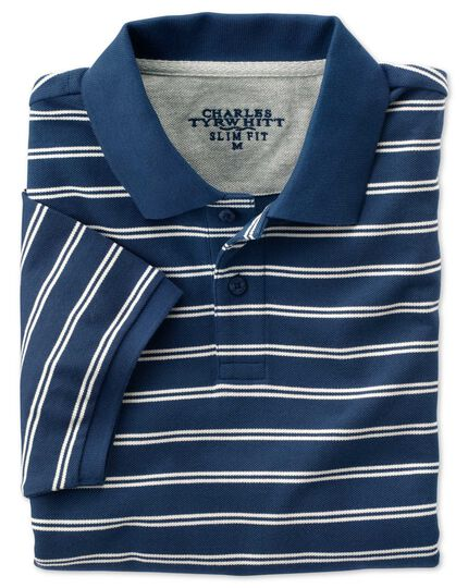 Slim fit blue and white striped pique polo