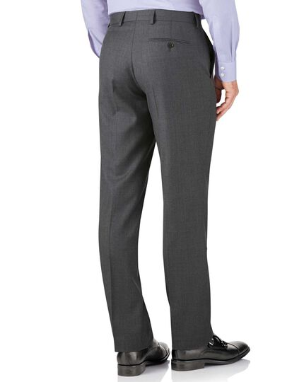 Mid grey classic fit twill business suit pants