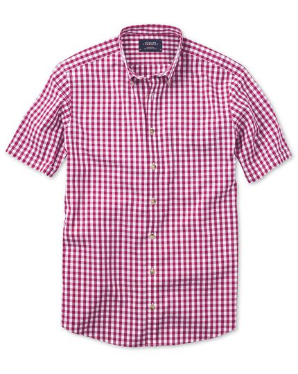 Slim fit non-iron poplin short sleeve raspberry check shirt