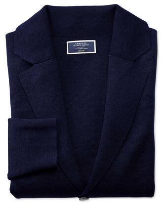 Blazer bleu marine en laine mérinos
