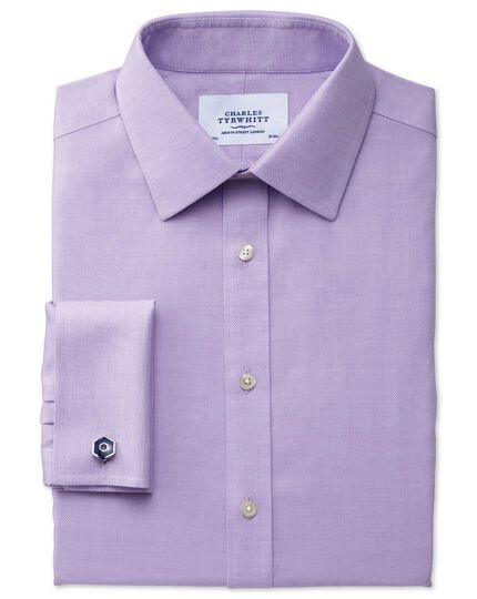 Classic fit non-iron micro spot lilac shirt