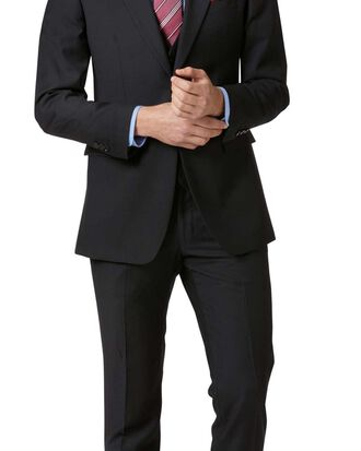 Black slim fit twill business suit
