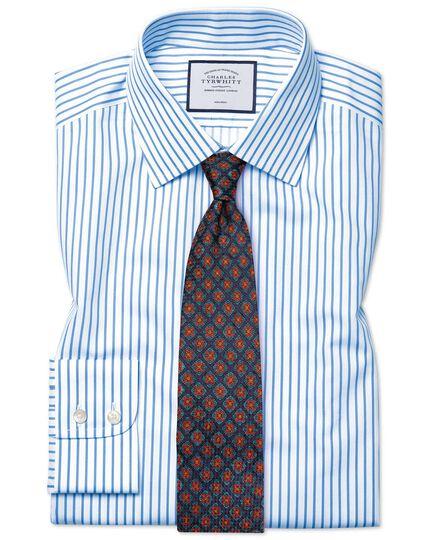 Slim fit non-iron twill stripe white and sky blue shirt