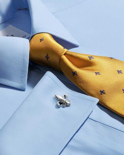 Gold and navy silk classic Fleur-de-Lys tie