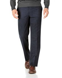 Indigo classic fit cotton flannel check trousers