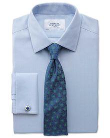 Classic fit non-iron honeycomb sky blue shirt