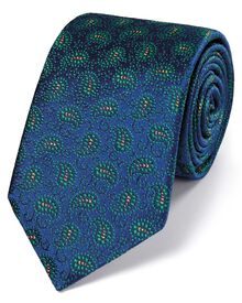 Blue and green silk vintage paisley luxury tie