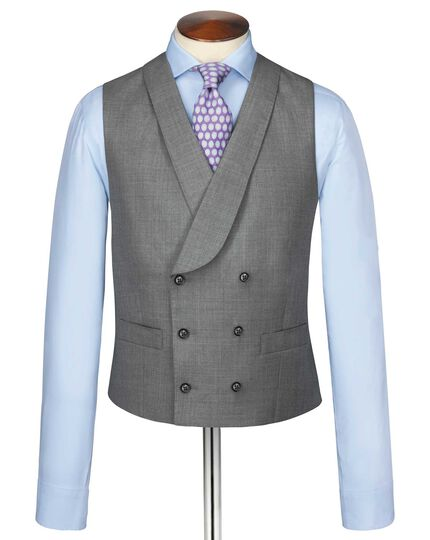 Silver adjustable fit British Panama luxury suit waistcoat