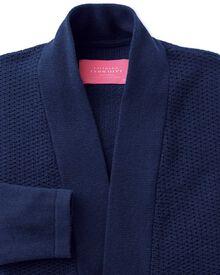 Navy textured long line cardigan