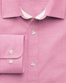 Slim fit peached end-on-end pink shirt
