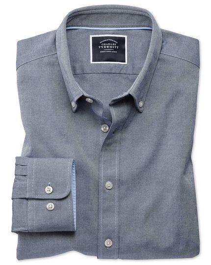 Extra slim fit denim blue plain washed Oxford shirt