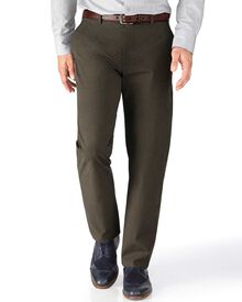 Brown classic fit Prince of Wales check stretch trousers