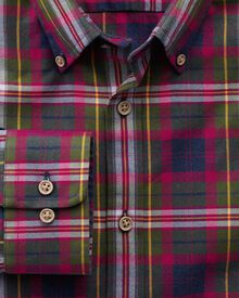 Classic fit multi check raspberry and blue shirt