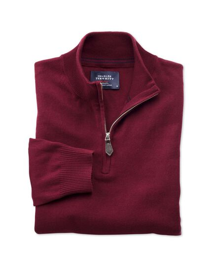 Burgundy cotton cashmere zip neck jumper