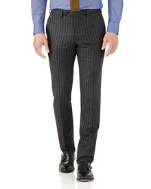 Charcoal stripe slim fit flannel business suit pants