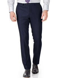 Navy slim fit saxony business suit trousers