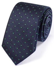 Slim navy and green silk classic textured spot tie