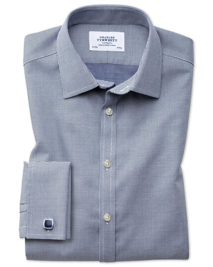 Bügelfreies Slim Fit Hemd in Marineblau mit gewebten Quadraten
