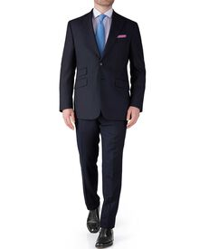 Navy slim fit basketweave business suit