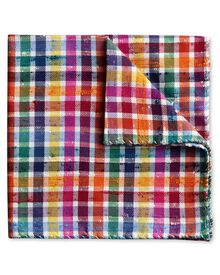 Multi silk English special warp check luxury pocket square
