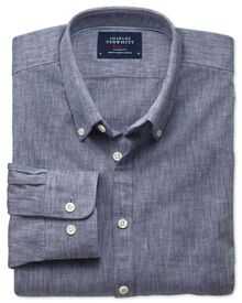 Extra slim fit navy chambray shirt